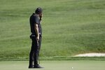 Phil Mickelson reacts to a putt on the 14th hole during the second round of the Workday Charity Open golf tournament, Friday, July 10, 2020, in Dublin, Ohio. (AP Photo/Darron Cummings)