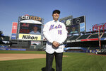 New York Mets new manager Carlos Beltran poses for a picture at Citi Field, Monday, Nov. 4, 2019, in New York.  (AP Photo/Seth Wenig)