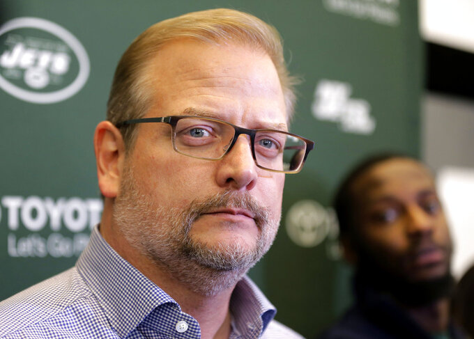 New York Jets general manager Mike Maccagnan speaks to reporters in Florham Park, N.J., Monday, Dec. 31, 2018. After firing Todd Bowles on Sunday night, the New York Jets are focused on bringing in someone who will be able to lead a franchise that has missed the playoffs for eight straight seasons but has a promising young quarterback in Sam Darnold and expects to be busy in free agency this offseason. (AP Photo/Seth Wenig)