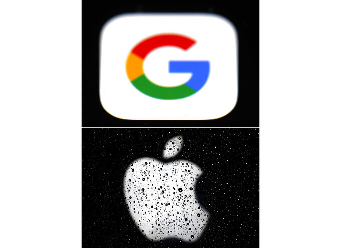 FILE - This combo of photos shows the logo for Google, top, and Apple, bottom. Big Tech companies that operate around the globe have long promised both to obey local laws and to protect civil rights while doing business. But when Apple and Google capitulated to Russian demands and removed Smart Voting, a political-opposition app from their local app stores, it raised worries that two of the world's most successful companies are more comfortable bowing to undemocratic edicts — and maintaining a steady flow of profits— than upholding their stated principles.((AP Photo/File)