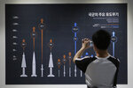 A visitor takes a picture of a display board showing major guide weapons of the South Korean armed forces at Korea War Memorial Museum in Seoul, South Korea, Tuesday, July 28, 2020. South Korea said Tuesday it has won U.S. consent to use solid fuel for space launch vehicles, a move that experts say would enable Seoul to launch its first surveillance satellites and accumulate technology to build more powerful missiles. (AP Photo/Ahn Young-joon)