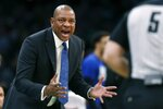 Los Angeles Clippers coach Doc Rivers protests a call during the second half of the team's NBA basketball game against the Boston Celtics in Boston, Saturday, Feb. 9, 2019. (AP Photo/Michael Dwyer)