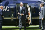 "FILE - In this file photo dated Wednesday June 11, 2008, Allen Stanford, chairman of Stanford 20/20 Cricket, and the England and Wales Cricket Board (ECB), gets out of his helicopter on landing at Lords Cricket Ground, in London. Stanford brought razzmatazz to the quaint sport by signing a deal with the England and Wales Cricket Board in 2008 for a dollars 20 million series of Twenty20 matches against a Caribbean team labeled the ""Stanford All-Stars."" but it lasted one series and Stanford was charged with fraud and sentenced to 110 years in prison in 2012. (AP Photo/Lefteris Pitarakis, FILE)"