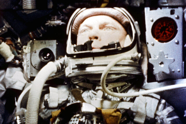 FILE - In this Feb. 20, 1962, file photo, provided by NASA, astronaut John Glenn pilots the