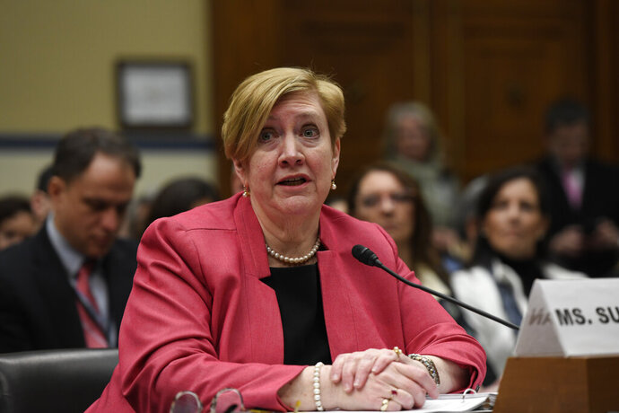 Deputy Assistant Secretary of Defense for Environment Maureen Sullivan at a House Oversight and Reform subcommittee hearing on PFAS chemicals and their risks on Wednesday, March 6, 2019, on Capitol Hill in Washington. The Pentagon defends its handling and continued use of a toxic firefighting foam that it acknowledges has contaminated water around more than 400 military bases, as military families and officials from states testify on the health and financial tolls. (AP Photo/Sait Serkan Gurbuz)