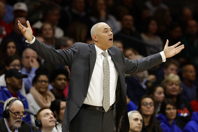 DePaul head coach Dave Leitao reacts to a call during the first half of an NCAA college basketball game against Villanova, Wednesday, Jan. 2, 2019, in Villanova, Pa. (AP Photo/Matt Slocum)