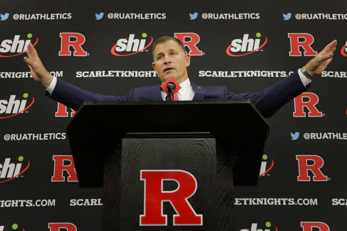 New Rutgers NCAA college football head coach Greg Schiano speaks at an introductory news conference in Piscataway, N.J., Wednesday, Dec. 4, 2019. After an on-again, off-again courtship, Greg Schiano is back as Rutgers football coach. (AP Photo/Seth Wenig)