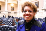 In this Jan. 23, 2020 photo, Terri Hill, a Maryland state legislator who represents a district in the suburbs of Baltimore, poses in the Maryland House of Delegates in Annapolis, Md. Hill is running in a crowded special Democratic primary for a vacant congressional seat that was held by the late Elijah Cummings. (AP Photo/ Brian Witte)