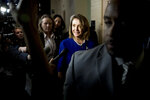 House Speaker Nancy Pelosi of Calif. leaves a House Democratic caucus meeting in the U.S. Capitol Building on Capitol Hill in Washington, Monday, March 25, 2019. (AP Photo/Andrew Harnik)