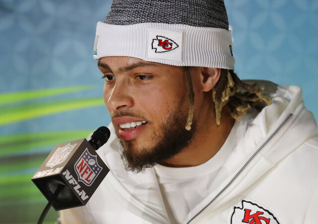Kansas City Chiefs' Tyrann Mathieu speaks to reporters during Opening Night for the NFL Super Bowl 54 football game Monday, Jan. 27, 2020, at Marlins Park in Miami. (AP Photo/Chris Carlson)