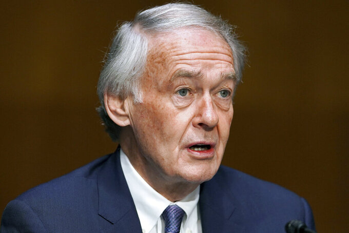 Sen. Edward Markey, D-Mass., introduces former U.S. Ambassador to the United Nations Samantha Power during a Senate Foreign Relations Committee on the nomination of Power to be the next Administrator of the United States Agency for International Development (USAID), Tuesday, March 23, 2021 on Capitol Hill in Washington. (Greg Nash/Pool via AP)
