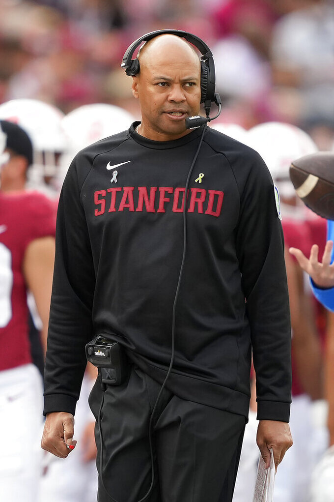 Stanford head coach David Shaw looks on from the sidelines as he watches the action during the second half against UCLA in an NCAA college football game Saturday, Sept. 25, 2021, in Stanford, Calif. (AP Photo/Tony Avelar)