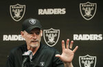 Oakland Raiders general manager Mike Mayock speaks during a news conference at the team's NFL football facility in Alameda, Calif., Thursday, April 11, 2019. (AP Photo/Jeff Chiu)