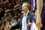 Northwestern coach Chris Collins reacts during the second half of an NCAA college basketball game against Nebraska in Lincoln, Neb., Saturday, Feb. 16, 2019. (AP Photo/Nati Harnik)