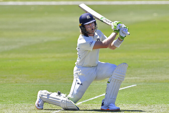 Will Pucovski bats for Victoria state during a Marsh Sheffield Shield cricket match between the Victoria Bushrangers and the Western Australia Western Warriors in Adelaide, Australia, Sunday, Nov. 8, 2020. Consecutive double centuries have earned Pucovski a spot in an expanded Australian test squad that also includes struggling incumbent opener Joe Burns for the four-test series against India. (Dean Lewins/AAP Image via AP)