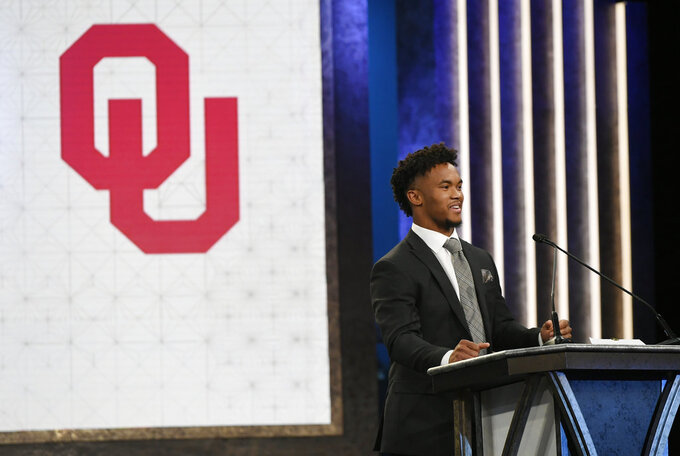 Oklahoma quarterback Kyler Murray speaks after winning the Heisman Trophy on Saturday, Dec. 8, 2018 in New York. (Todd J. Van Emst/Heisman Trophy Trust via AP, Pool)