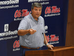 Mississippi head football coach Matt Luke speaks during Mississippi's Media Day at the Manning Center in Oxford, Miss. on Thursday, Aug. 1, 2019. Mississippi begins NCAA college football practice on Friday and opens the season against Memphis on Aug. 31, 2019.  (AP Photo/Thomas Graning)