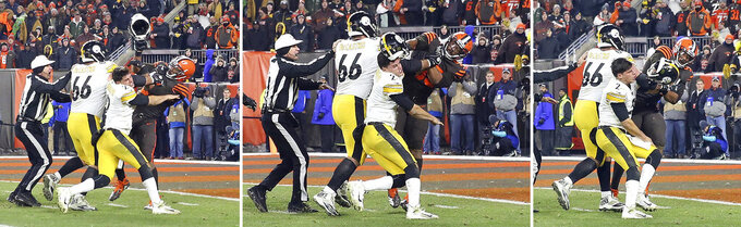 This combo shows Cleveland Browns defensive end Myles Garrett (95) hitting Pittsburgh Steelers quarterback Mason Rudolph (2) with a helmet during the second half of an NFL football game Thursday, Nov. 14, 2019, in Cleveland. (Joshua Gunter/Cleveland.com via AP)