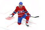 Montreal Canadiens' Tyler Toffoli celebrates after scoring the winning goal following overtime NHL Stanley Cup playoff hockey action against the Winnipeg Jets in Montreal, Monday, June 7, 2021. (Paul Chiasson/The Canadian Press via AP)