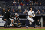 New York Yankees' Brett Gardner watches his home run against the Chicago White Sox during the fourth inning of a baseball game Friday, April 12, 2019, in New York. (AP Photo/Michael Owens)
