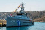 CORRECTS THE YEAR THE IMAGE WAS TAKEN In this Sept. 2016 photo provided by Greek Coast Guard the Gavdos 090 vessel is docked on an Aegean island. Greek authorities said on Tuesday, Feb. 13, 2018 a Turkish coast guard vessel rammed the Greek coast guard boat off a couple of uninhabited islets in the Aegean Sea over which the two NATO allies nearly went to war in 1996. There were no injuries. (Greek Coast Guard via AP)