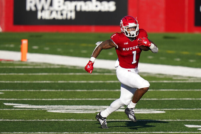 Rutgers running back Isaih Pacheco (1) gains yardage in the first quarter of an NCAA college football game against Indiana, Saturday, Oct. 31, 2020, in Piscataway, N.J. (AP Photo/Corey Sipkin)