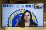 In this image made from video, Allegheny County Controller Chelsa Wagner appears in a video arraignment at 36th District court in Detroit, Monday, March 25, 2019. Wagner, an elected official from Pittsburgh, and her husband have been arraigned on charges stemming from an altercation with Detroit police at a hotel. (David Guralnick/Detroit News via AP)