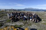 Members of the University of Michigan American Football Team pose for a photograph during their visit to Robben Island in Cape Town, South Africa, Sunday, May 5, 2019. The team visited the former prison Island where former President Nelson Mandela spent time. (AP Photo/Nasief Manie)