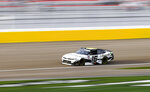 AJ Allmendinger drives during a NASCAR Xfinity Series auto race at Las Vegas Motor Speedway, Saturday, March 6, 2021. (Chase Stevens/Las Vegas Review-Journal via AP)