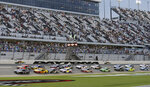 Kevin Harvick (4) leads the field to start the NASCAR Cup Series auto race at Daytona International Speedway, Saturday, Aug. 29, 2020, in Daytona Beach, Fla. (AP Photo/Terry Renna)