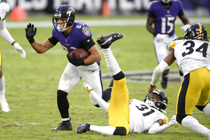 Baltimore Ravens wide receiver Willie Snead (83) runs by Pittsburgh Steelers cornerback Justin Layne (31) during the second half of an NFL football game, Sunday, Nov. 1, 2020, in Baltimore. The Steelers won 28-24. (AP Photo/Nick Wass)