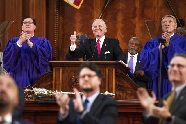 South Carolina Gov. Henry McMaster, center, with Rep. Jay Lucas, R-Darlington, left, and Sen. Harvey Peeler, R-Cherokee, right, delivers the State of the State address at the South Carolina Statehouse, Wednesday, Jan. 22, 2020, in Columbia, S.C. (AP Photo/Sean Rayford)
