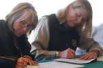 New Mexico Gov. Michelle Lujan Grisham, left, is joined by U.S. Forest Service Chief Vicki Christiansen as they sign a shared stewardship pact at the Randall Davey Audubon Center on the outskirts of Santa Fe, N.M. on Thursday, Nov. 14, 2019. The chief of the U.S. Forest Service and New Mexico's Democratic governor signed the pact Thursday aimed at strengthening relations as they work to represent diverse interests concerning natural resources on public forest lands. (AP Photo/Morgan Lee)