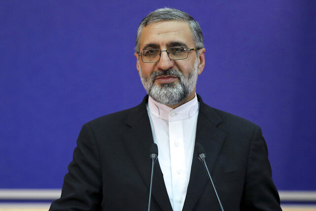 Iran's Judiciary spokesman Gholamhossein Esmaili gives a press conference in Tehran, Iran, Tuesday, Feb. 4, 2020. Iran said Tuesday that its top court confirmed a death sentence for an Iranian man convicted of spying for the CIA, with state media alleging that he had shared details of the Islamic Republic's nuclear program with the American spy agency. Judiciary spokesman Gholamhossein Esmaili identified the purported spy as Amir Rahimpour and said he would be executed soon. (Hamed Ataei/Mizan News Agency via AP)