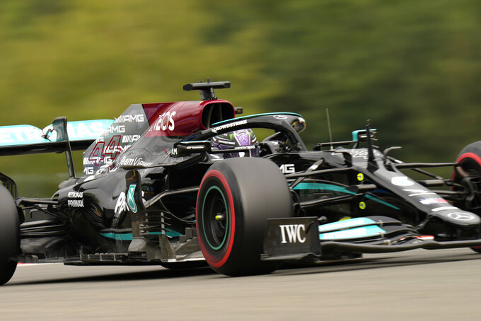 Mercedes driver Lewis Hamilton of Britain steers his car during the first practice session prior to the Formula One Grand Prix at the Spa-Francorchamps racetrack in Spa, Belgium, Friday, Aug. 27, 2021. The Belgian Formula One Grand Prix will take place on Sunday. (AP Photo/Francisco Seco)