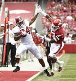 Alabama running back Damien Harris is knocked out of bounds by Arkansas defender Dre Greenlaw in the first half of an NCAA college football game Saturday, Oct. 6, 2018, in Fayetteville, Ark. (AP Photo/Michael Woods)