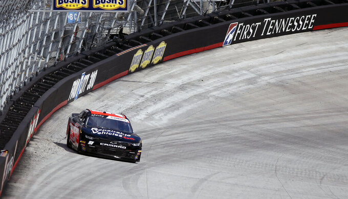 Driver Jeremy Clements get loose during practice for an NASCAR Xfinity Series auto race on Thursday, Aug. 15, 2019, in Bristol, Tenn. (AP Photo/Wade Payne)