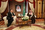 Secretary of State Mike Pompeo meets with Saudi Arabia's Crown Prince Mohammed bin Salman, right, at Al Salam Palace in Jeddah, Saudi Arabia, Monday, June 24, 2019. (AP Photo/Jacquelyn Martin, Pool)