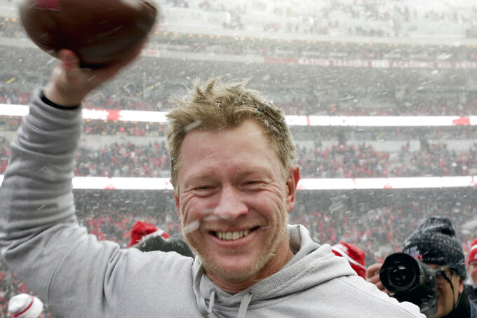In this Nov. 17, 2018 photo, Nebraska head coach Scott Frost celebrates a 9-6 win over Michigan State in an NCAA college football game in Lincoln, Neb. Scott Frost's first Nebraska team is in position to finish with one more win than the Mike Riley-led Cornhuskers had a year ago. That would be no small accomplishment for the Huskers, who were the last power-five conference team to win this season following a program-worst 0-6 start. (AP Photo/Nati Harnik)
