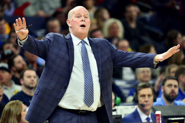 Orlando Magic coach Steve Clifford reacts during the second half of the team's NBA basketball game against the Memphis Grizzlies on Tuesday, March 10, 2020, in Memphis, Tenn. (AP Photo/Brandon Dill)