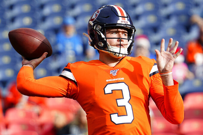 Denver Broncos quarterback Drew Lock (3) warms up prior to an NFL football game against the Detroit Lions, Sunday, Dec. 22, 2019, in Denver. (AP Photo/Jack Dempsey)