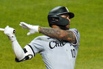 Chicago White Sox's Yoan Moncada watches his RBI single off Pittsburgh Pirates relief pitcher Dovydas Neverauskas during the fifth inning of a baseball game in Pittsburgh, Tuesday, Sept. 8, 2020. (AP Photo/Gene J. Puskar)