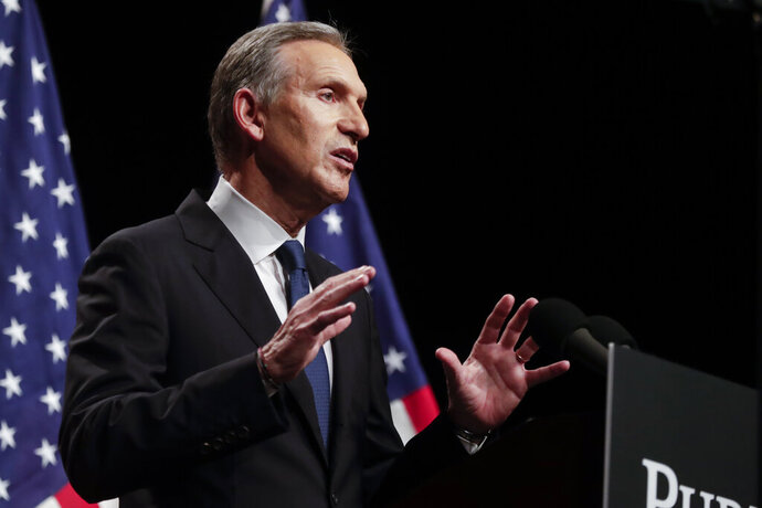 FILE - In this Feb. 7, 2019 file photo, former Starbucks CEO Howard Schultz speaks at Purdue University in West Lafayette, Ind. Schultz has acknowledged the manager of one of the company's shops in Philadelphia where two black men were arrested last year might not have called authorities if the two men had been white. The acknowledgement came Wednesday night, Feb. 13 at an event in the city where Schultz was confronted by the person who first shared the video of two black men getting arrested at the shop. (AP Photo/Michael Conroy, File)
