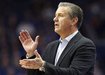 Kentucky coach John Calipari applauds his team during the second half of an NCAA college basketball game against UAB in Lexington, Ky., Friday, Nov. 29, 2019. Kentucky won 69-58. (AP Photo/James Crisp)