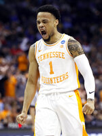 Tennessee's Lamonte Turner reacts in the first half against Iowa during a second round men's college basketball game in the NCAA Tournament in Columbus, Ohio, Sunday, March 24, 2019(AP Photo/John Minchillo)