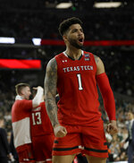 Texas Tech's Brandone Francis (1) celebrates after defeating Michigan State 61-51 in the semifinals of the Final Four NCAA college basketball tournament, Saturday, April 6, 2019, in Minneapolis. (AP Photo/David J. Phillip)