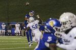 Tulsa defensive end Deven Lamp pressures San Jose State quarterback Nick Nash during the fourth quarter of an NCAA college football game Saturday, Sept. 7, 2019, in San Jose, Calif. (Ernie Gonzalez/The Spear via AP)