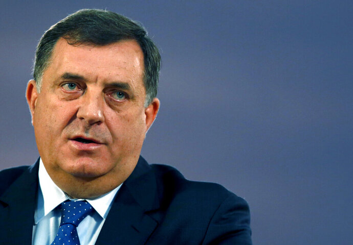 FILE - In this file photo taken Sunday, Oct. 29, 2017, chairman and Serb member of the tripartite Presidency of Bosnia and Herzegovina Milorad Dodik speaks during a press conference in Belgrade, Serbia. Last year's general vote in Bosnia mainly saw nationalist parties and politicians from the three rival ethnic groups win most votes and they are scheduled to meet Tuesday Aug. 20, 2019, to try to break a deadlock on forming a new government, more than ten months after the general election in October. (AP Photo/Darko Vojinovic, FILE)
