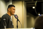 Tua Tagovailoa talks to the media at the NFL Scouting Combine on Tuesday, Feb. 25, 2020 in Indianapolis. (Detroit Lions via AP)
