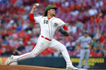 Cincinnati Reds pitcher Luis Castillo throws during the first inning of the team's baseball game against the Los Angeles Dodgers in Cincinnati, Friday, Sept. 17, 2021. (AP Photo/Aaron Doster)